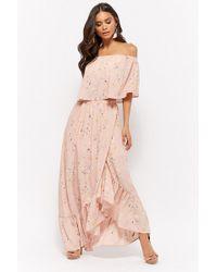 00df3d70c03c Forever 21 - Women s Plus Size Floral Mock Wrap Maxi Skirt - Lyst