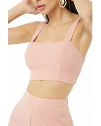 e54b41492737d9 Lyst - Forever 21 V-neck Crop Top in White