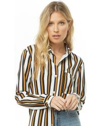 35be7c14f6 Forever 21 Mod Vertical Striped Shirt in White - Lyst