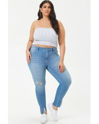 c510a557294 Forever 21 - Women s Plus Size Distressed Skinny Jeans - Lyst