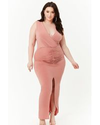 418394934ec Forever 21 - Women s Plus Size Ruched Surplice Maxi Dress - Lyst