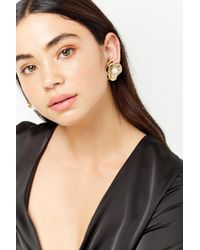 Forever 21 - Faux Pearl Floral Earrings - Lyst