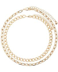 Forever 21 - Chunky Cable & Curb Chain Necklace Set - Lyst