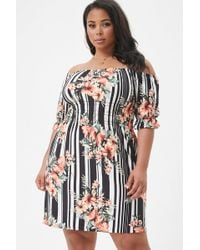 Forever 21 - Women's Plus Size Striped Floral Off-the-shoulder Smocked Peasant Dress - Lyst
