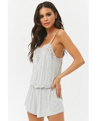 Forever 21 - Floral Lace-trim Cami Playsuit - Lyst