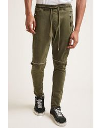 Forever 21 - Zippered Twill Woven Joggers - Lyst