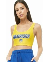 Forever 21 - Nba Warriors Graphic Crop Top , Yellow/blue - Lyst