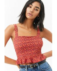 Forever 21 - Floral Ruffle Hem Crop Top - Lyst