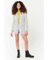 Forever 21 - Striped Longline Open-front Jacket - Lyst