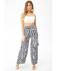 62d00aefd27c7c Forever 21 - Women's Ruffled Wrap-front Trousers - Lyst