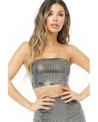 365a0ccf8d Lyst - Forever 21 Glitter Star Cropped Tube Top in Black
