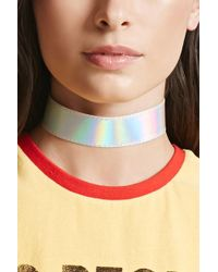 Forever 21 - Women's Faux Leather Metallic Choker Necklace - Lyst