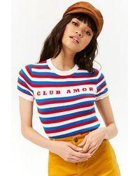 Forever 21 - Women's Striped Club Amour Graphic Top - Lyst