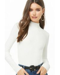 Forever 21 - Ribbed Knit Mock Neck Top - Lyst