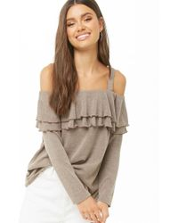 6334cc7c999df8 Forever 21 - Knit Tiered-flounce Open-shoulder Top , Mocha - Lyst