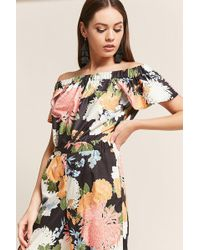 d7fefc1a829 Forever 21 Rd & Koko Satin Floral Crop Top in Green - Lyst