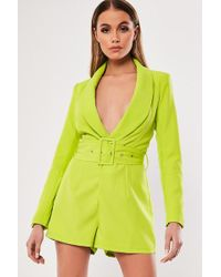 Missguided - Belted Plunging Romper At , Neon Green - Lyst