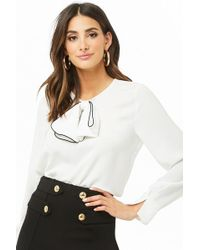 Forever 21 - Contrast-trim Bow Top - Lyst