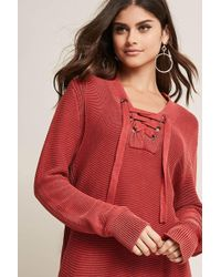 Forever 21 - Purl-knit Lace-up Sweater - Lyst