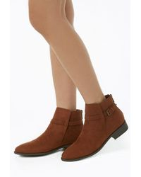 Forever 21 - Women's Faux Suede Ankle-strap Booties - Lyst