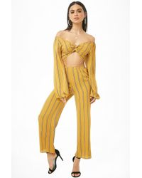 15f93e2dd4fa50 Forever 21 - Striped Wide-leg Pants , Mustard - Lyst