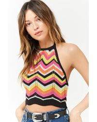 Forever 21 - Ribbed Chevron Halter Crop Top - Lyst
