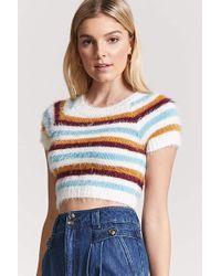 Forever 21 - Fuzzy Knit Stripe Jumper - Lyst
