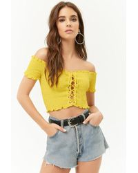 Forever 21 - Smocked Off-the-shoulder Lace-up Crop Top - Lyst