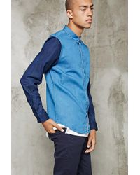 Forever 21 - Colorblocked Chambray Shirt - Lyst