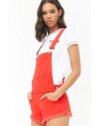 Forever 21 - Frayed Hem Overall Shorts , Red - Lyst