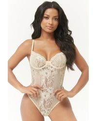 Forever 21 - Striped Mesh & Lace Bodysuit - Lyst