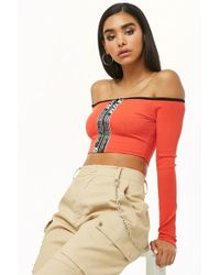 0c51cada43997 Forever 21 - Zippered Off-the-shoulder Crop Top - Lyst