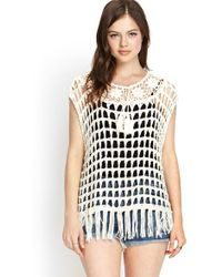 Forever 21 - Tasseled Open-knit Top - Lyst