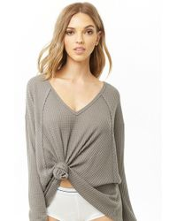 b12b765de9735 Forever 21 - Women s Knotted Waffle-knit Top - Lyst