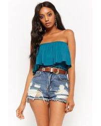 Forever 21 - Flounce Tube Crop Top - Lyst
