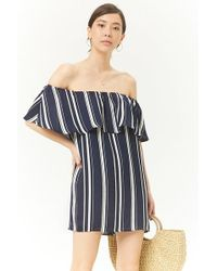 Forever 21 - Striped Off-the-shoulder Flounce Dress - Lyst