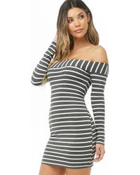 Lyst - Forever 21 Striped Off-the-shoulder Dress in Blue b56e84bf1