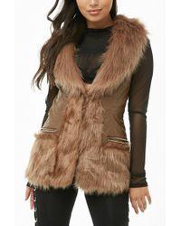 Forever 21 Faux Fur Vest , Camel