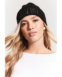 Forever 21 - Realist Graphic Foldover Beanie - Lyst