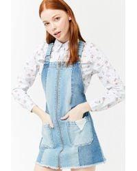 204cde8861 Forever 21 - Women s Denim Panel Dungaree Mini Dress - Lyst