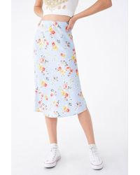 aaac00c2d5f328 Forever 21 Floral Embroidered Mesh Midi Skirt in Black - Lyst