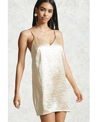 Forever 21   Crinkled Satin Mini Slip Dress   Lyst