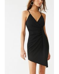 Forever 21 Ruched Asymmetrical Dress , Black