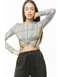 Forever 21 - Glen Plaid Tie-front Top - Lyst