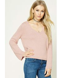 Forever 21 - V-neck Ribbed Jumper Sweater - Lyst