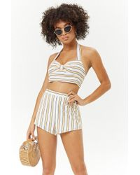 Forever 21 - Striped High-rise Shorts - Lyst