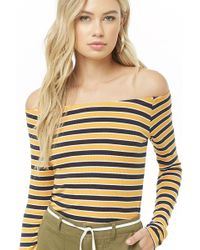 f01d22b08ba81b Forever 21 - Striped Off-the-shoulder Top - Lyst