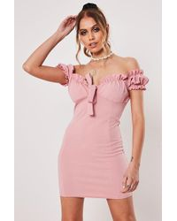 Missguided - Off-the-shoulder Bodycon Dress At - Lyst