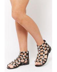 Forever 21 - Embellished Caged Sandals - Lyst
