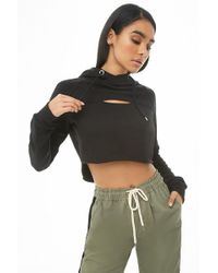 Forever 21 - Women's Hooded Fleece Cutout High-low Pullover Top - Lyst